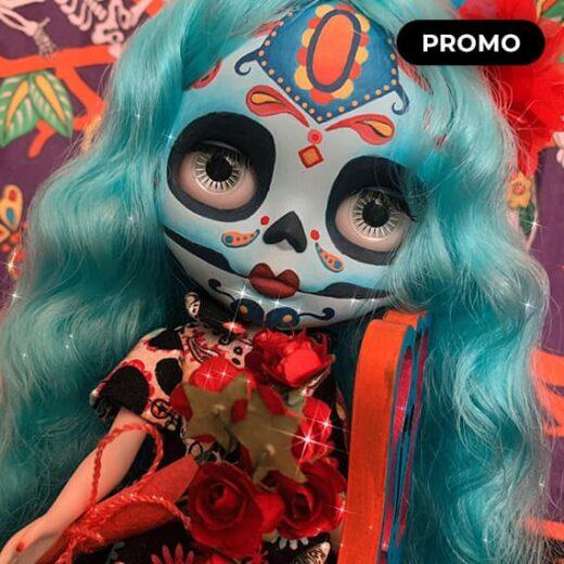 Gloria, Blythe doll Art Custom Blythe Doll OOAK Sugar Skull Dia de muertos by CrystalNingyo