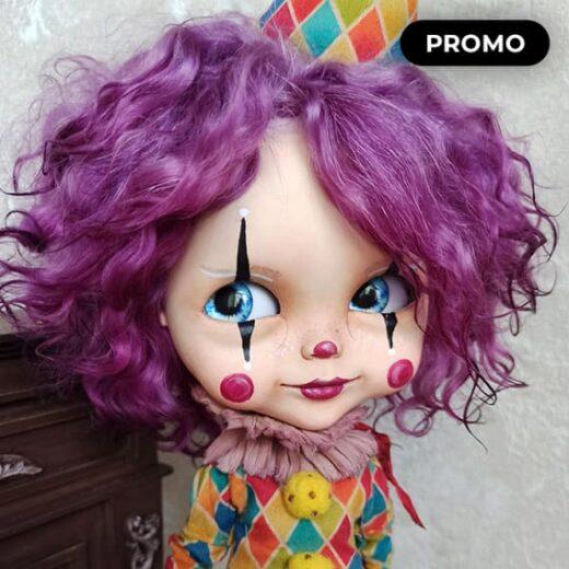 Blythe Clown Custom Doll with Natural Hair by KreolkaArtDoll